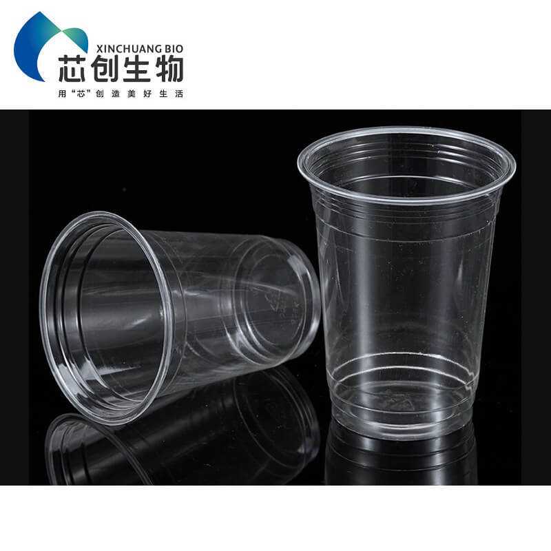 PLA Plastic Transparent Cup with Lid for Cold Drink