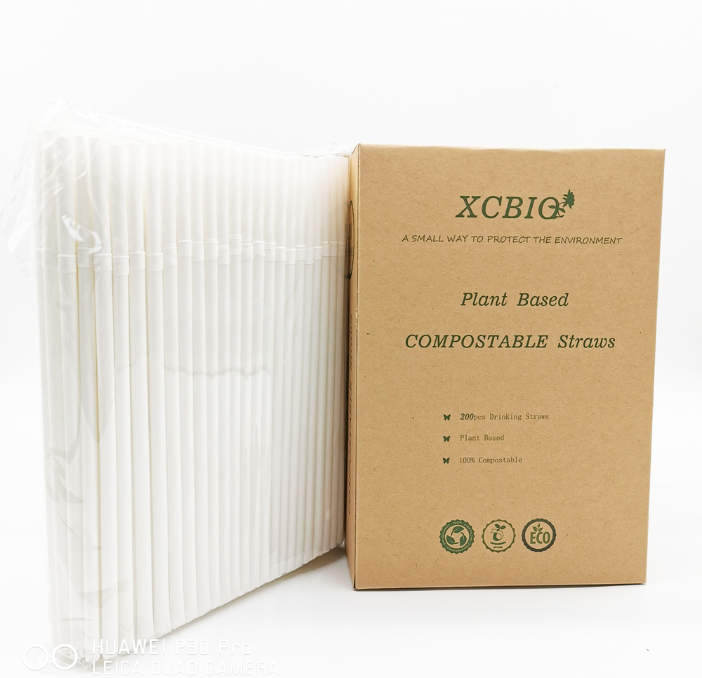 RTS Kraft Paper box pla corn cornstarch nature plant Free sample compostable straw