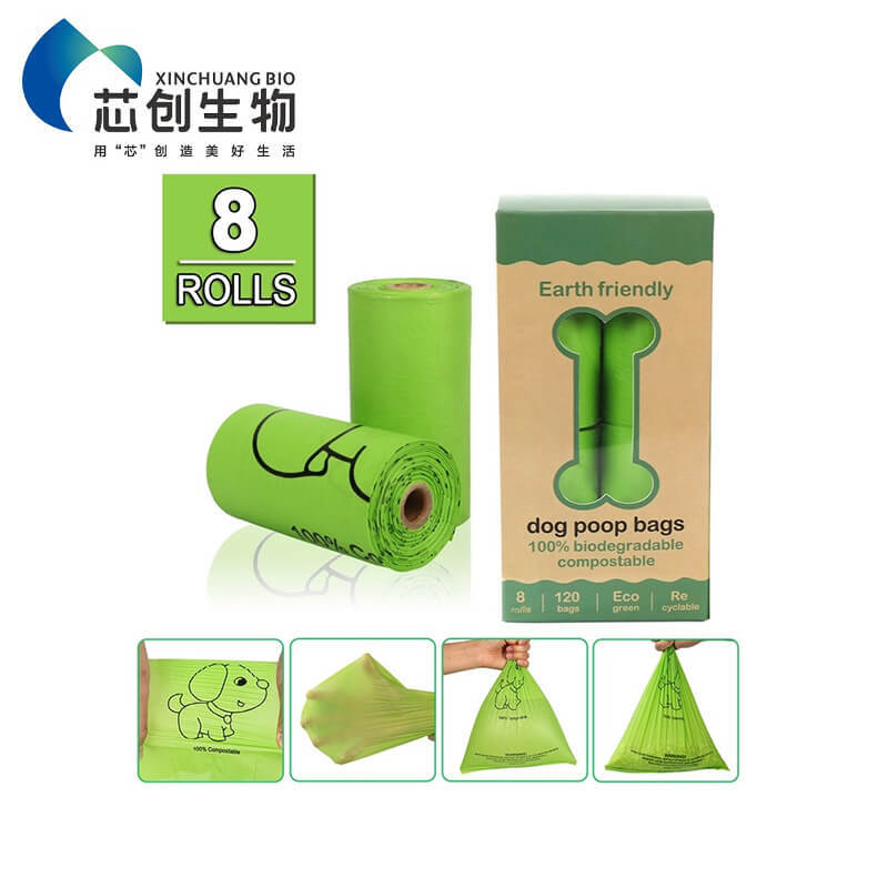 Eco Friendly Biodegradable Corn Starch Compostable Pet Poop Bag On Roll